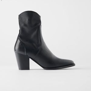 Zara leather heel cowboy ankle boot